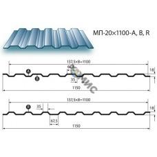 Профнастил МП20А 0,45х1170-Пэ-RAL6005