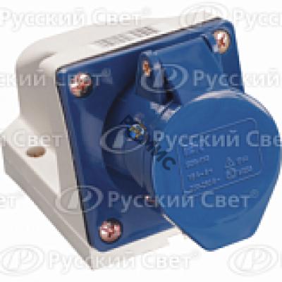 Розетка ОП 32А 220В стационарная 2P+PЕ ССИ-123 IP44 ИЭК PSR11-032-3, РФ