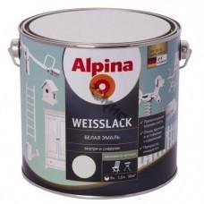Эмаль алкидная Alpina Weisslack Белая шелковисто-матовая 750 мл.