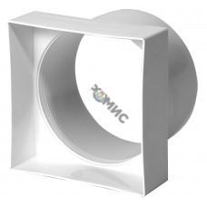 Переходник пластмассовый д100мм 100х100мм, квадрат на круг VA91