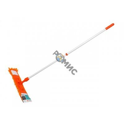 Швабра для пола с насадкой из шенилла, оранжевая, PERFECTO LINEA (Телескопическая рукоятка 67-120 см