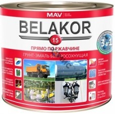 Грунт-эмаль прямо по ржавчине RAL 8017 шоколад  BELAKOR 15 быстросохн. мат  1,0 л (1,0кг). РБ ,прямо по ржавчине