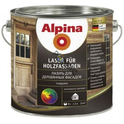 Лазурь алкидн. Alpina Лазурь для деревянных фасадов Карельская бере 750мл