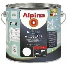 Эмаль акриловая Alpina Aqua Weisslack Водоразбавляемая белая глянцевая 2,5 л