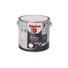 Эмаль акриловая Alpina Aqua Weisslack Водоразбавляемая Белая шелковисто-матовая 2,5 л