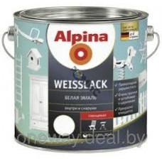 Эмаль алкидн. Alpina Белая эмаль (Alpina Weisslack) шелковисто-матовая 2,5 л/ 3,15 кг, Германия