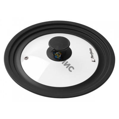 Крышка стеклянная, 220-240-260 мм, с силиконовым ободом, круглая, черная, PERFECTO LINEA (25-322320), Китай