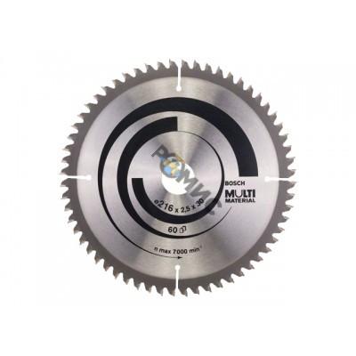 Диск пильный 216х30 мм 60 зуб. универсальный MULTIMATERIAL BOSCH (твердоспл. зуб)