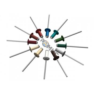 Заклепка вытяжная 4.0х10 мм алюминий/сталь, RAL 3005 (200 шт в пласт. конт.) STARFIX (Цвет винно-кра