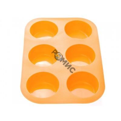 Форма для выпечки, силиконовая, прямоугольная на 6 кексов, 26 х 17.5 х 3 см, оранж., PERFECTO LINEA