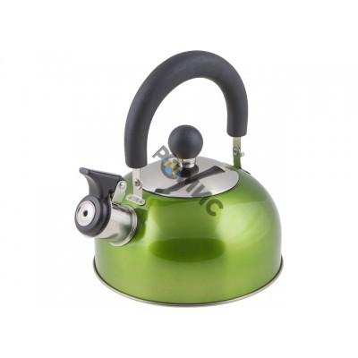 Чайник со свистком, нержавеющая сталь, 1.2 л, серия Holiday, зеленый металлик, PERFECTO LINEA (диаме