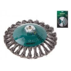 Щетка дисковая косич.125мм/M14 ВОЛАТ (для УШМ шлифмашины болгарки М14 тарелка торцевая крацовка)