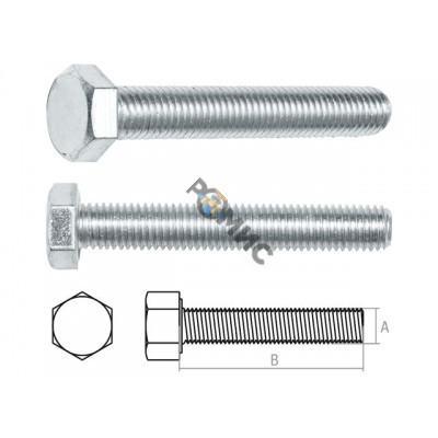 Болт М20х90 мм шестигр., цинк, кл.пр. 5.8, DIN 933 (5 кг.) STARFIX