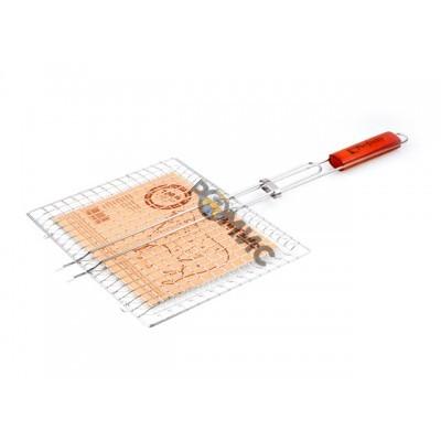 Решетка-гриль, 340x260 мм,  нержавеющая сталь, деревянная ручка, PERFECTO LINEA