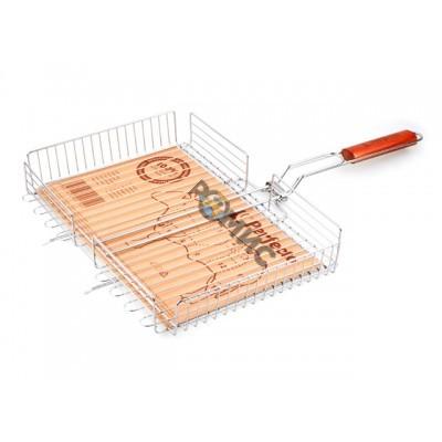 Решетка-гриль, 410x280 мм,  нержавеющая сталь, деревянная ручка, PERFECTO LINEA