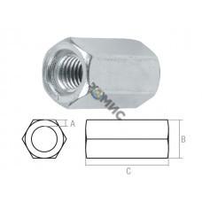 Гайка М10 (1.5х17х30 мм) удлиняющая, цинк, (600 шт в коробе) STARFIX