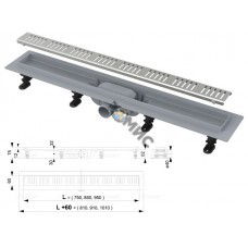 Водоотводящий желоб с порогами для перфорированной решетки (Simple), Alcaplast (перфорированная реше