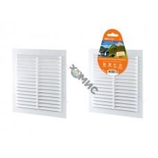 Решетка вентиляционная пластм. 150x150мм, белая неразъемная с москитной сеткой, TDM (SQ1807-0086)