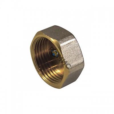 Заглушка латунная никель Ду 40 Внутр.резьба