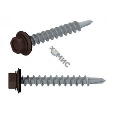 Саморез кровельный 5.5х25 мм цинк, шайба с прокл., PT3, RAL 8017 (50 шт в пласт. конт.) STARFIX (по