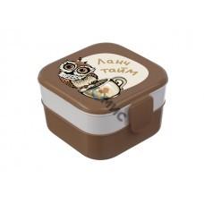 Контейнер для обеда (0,4+0,4л) - совы (IDEA)