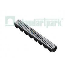 Лоток водоотводный S'park ЛВ-10.14.10-ПП пластиковий с решеткой стальной (Стандартпарк)