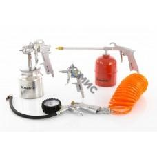 Набор пневмоинструмента ,5 предметов, быстросъемное соед, краскорасп. с нижним бачком /Matrix (57302), Китай
