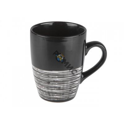 Кружка керамическая, 380 мл, черная с полоской МИКС, PERFECTO LINEA