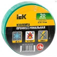 Изолента ПВХ зеленая 19ммх20м (0,18мм) ИЭК UIZ-20-10-K06, РФ