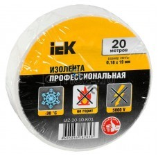 Изолента ПВХ белая 0.18х19мм (рул.20м) ИЭК UIZ-20-10-K01, РФ