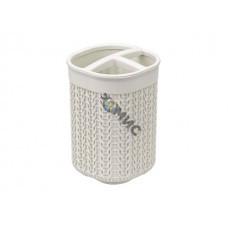 Подставка для зубных щеток ВЯЗАНИЕ (белый ротанг) (IDEA)