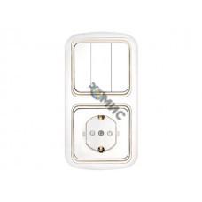 Блок выкл. 3 клав. + розетка (скрытая, с/з, со шторками) белая, Гармония, Bylectrica