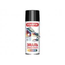 Краска-эмаль аэроз. универсальная черный глянец STARFIX 520мл (9017) (Цвет черный глянец)