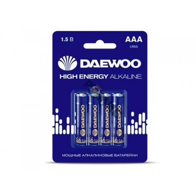 Батарейка AAA LR03 1,5V alkaline BL-4шт DAEWOO HIGH ENERGY