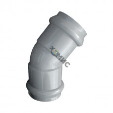 Отвод двухраструб. НПВХ сер. нап. с манж. Ру 1.0 Мпа Дн 110х45*, Китай