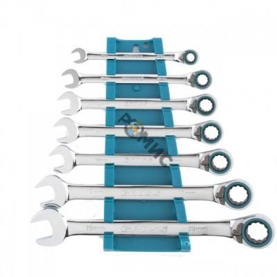 Набор ключей комбинир.  7шт. 8-19мм с трещоткой, реверсивные, CrV, Gross 14892
