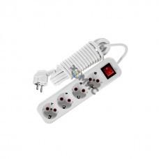 Удлинитель 4х3м с заземл. 16А IP20 с выкл. LEZARD 720-0403-402, РФ