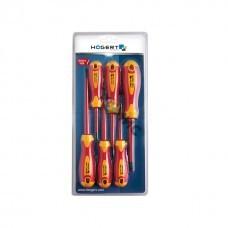 Набор изолированных отверток 1000 V с отверткой индикатором напряжения, сталь S2, 5 шт., HOEGERT арт.HT1S994, страна ввоза Польша