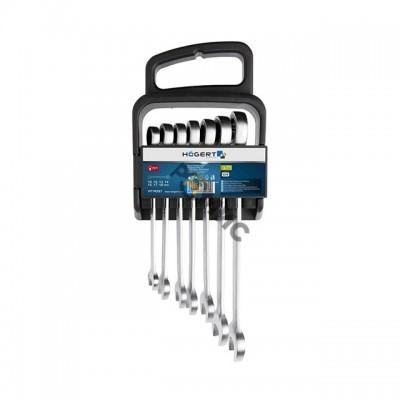 Набор ключей комбинир.  7шт. 10-19мм трещоточные, 72T-сталь CrV 6140 HOEGERT арт.HT1R397, Польша